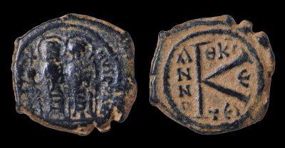 JUSTIN II 565-578 AD HALF FOLLIS. 20 NUMMI. THESSALONICA 569 AD-0