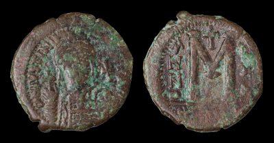 JUSTINIAN I FOLLIS CONSTANTINOPLE 547/548 AD.-0