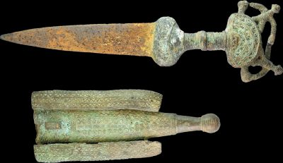 MALI TUAREG TRIBES 1800 ca. ANCIENT SWORD IN BRONZE AND IRON FOR CEREMONY-0