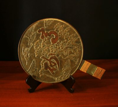 JAPAN EDO PERIOD 1603-1868 AD BRONZE MIRROR WITH HANDLE-0