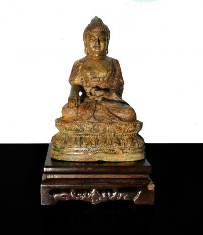 Tibet/China Bronze and Iron temple Buddha statue Early 1900-0