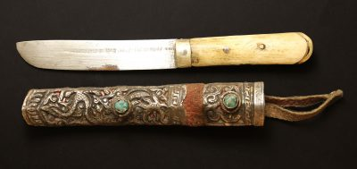 Tibet Woman silver Knife with bone handle Early 1900 AD-0