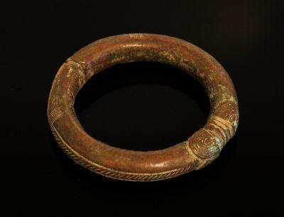 Nigeria. Ibo or Igbo people. Bronze manilla bracelet 1900 circa-0