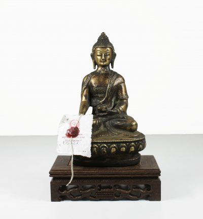Tibet. Manjushri Buddha bronze statue. End of 1800. 660 gr. - -0