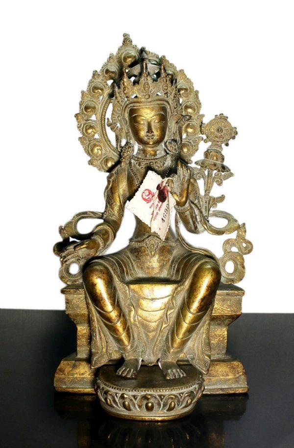 Tibet. Maitreya Buddha bronze statue. End of 1800. 2,4 Kg. - 28X16X12 Cm-0