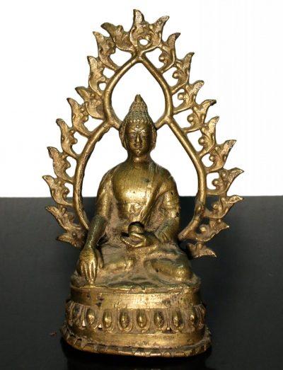 Tibet. Shakyamuni Buddha bronze statue. End of 1800. 720 gr. - 16X11X6 Cm. -0