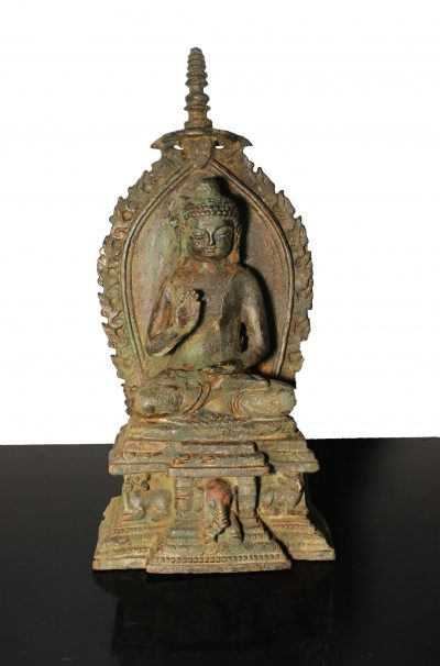China. Qing Dynasty 1800 circa. Heavy Iron Guanyin temple statue. 3,1 kg. - 31X14X11 cm-0