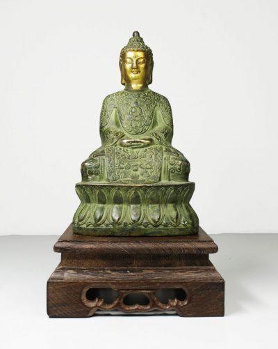 China. Guanyin Bronze Buddha statue. 1950 circa. 570 gr. - 16,5x9x7 cm-0