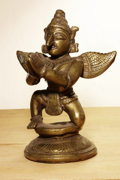 Nepal. Garuda temple bronze statue. Early 1900 AD. 1027 gr. 14x11x7 cm.-0