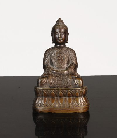 China. Bronze Buddha statue. Qian Long mark on bottom side.1920 circa. 343 gr. - 13x7,5x5 cm-0