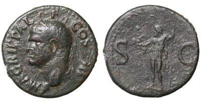 Agrippa. died 12 BC. AE As Neptune -0