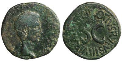 Augustus, 27 BC-AD 14. As. Rome, C. Plotius Rufus, 15 BC. -0