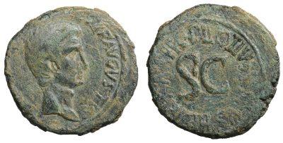 Augustus, 27 B.C.-A.D. 14. Æ Dupondius. Rome, 16 B.C. C. Asinius Gallus, tresvir. -0