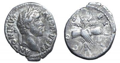 Antoninus Pius. Denarius. Clasped hands-0