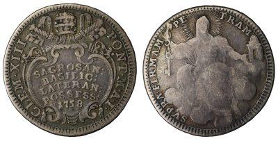 Clemente XIII. 1758-1769 d.C. Quinto di Scudo 1758-0